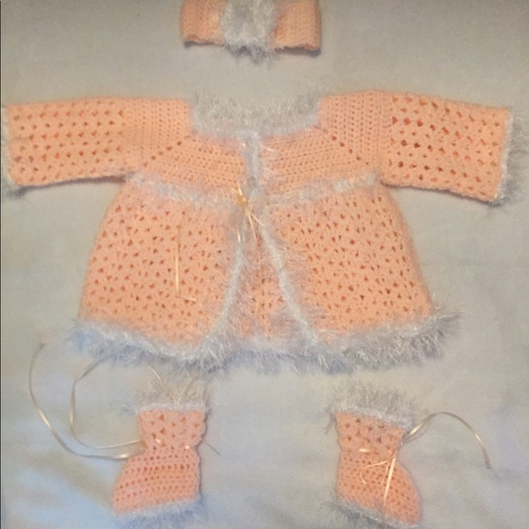 Matching Sets Handmade Baby Sweater Set Peach Poshmark